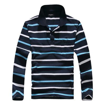 Người đàn ông mới của mỏng ve áo dài tay t-shirt cotton giản dị cộng với phân bón XL trung niên sọc dài tay người đàn ông áo phông unisex Áo phông dài
