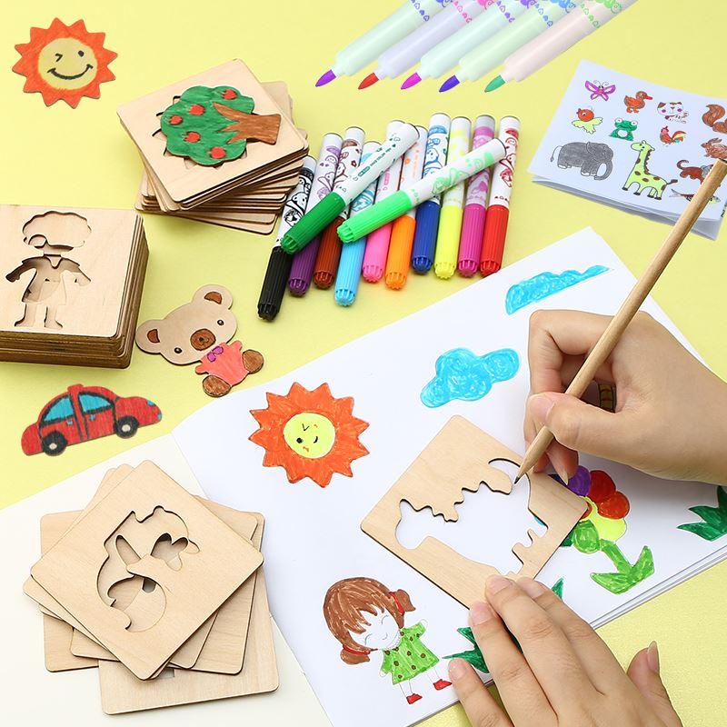木质画画套装工具儿童学画涂鸦绘画模板幼儿
