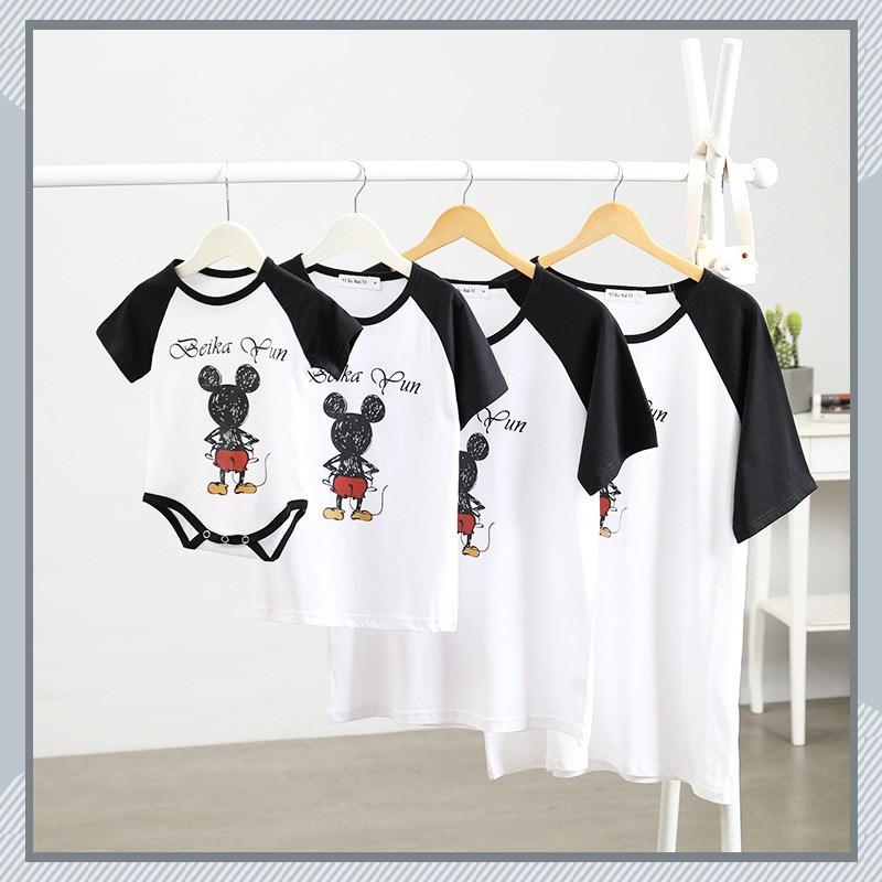 亲子装 2020夏装新款棉母女装父子家庭一家三口情侣短袖T恤