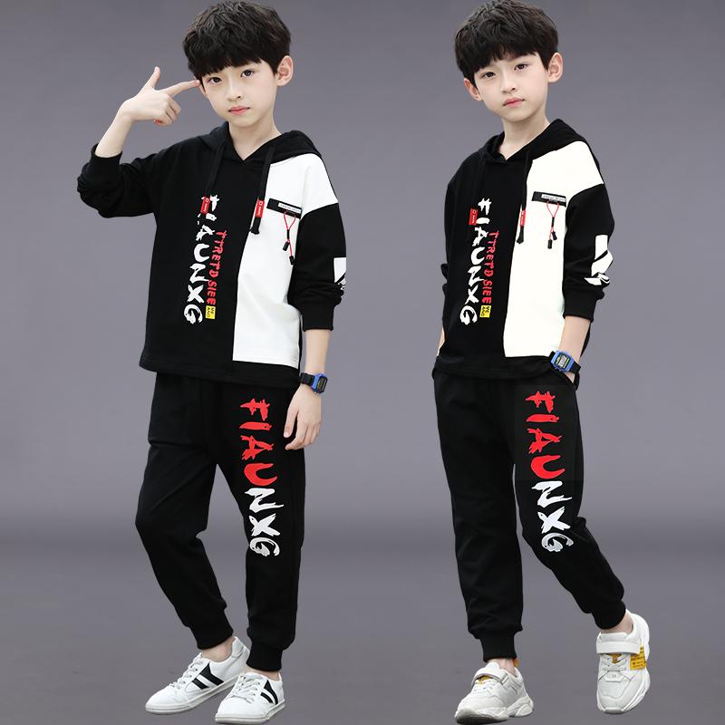 Bộ quần áo bé trai mùa thu 2020 Cậu bé trung niên mới đẹp trai Bộ đồ hai mảnh Hàn Quốc 12 tuổi - Phù hợp với trẻ em