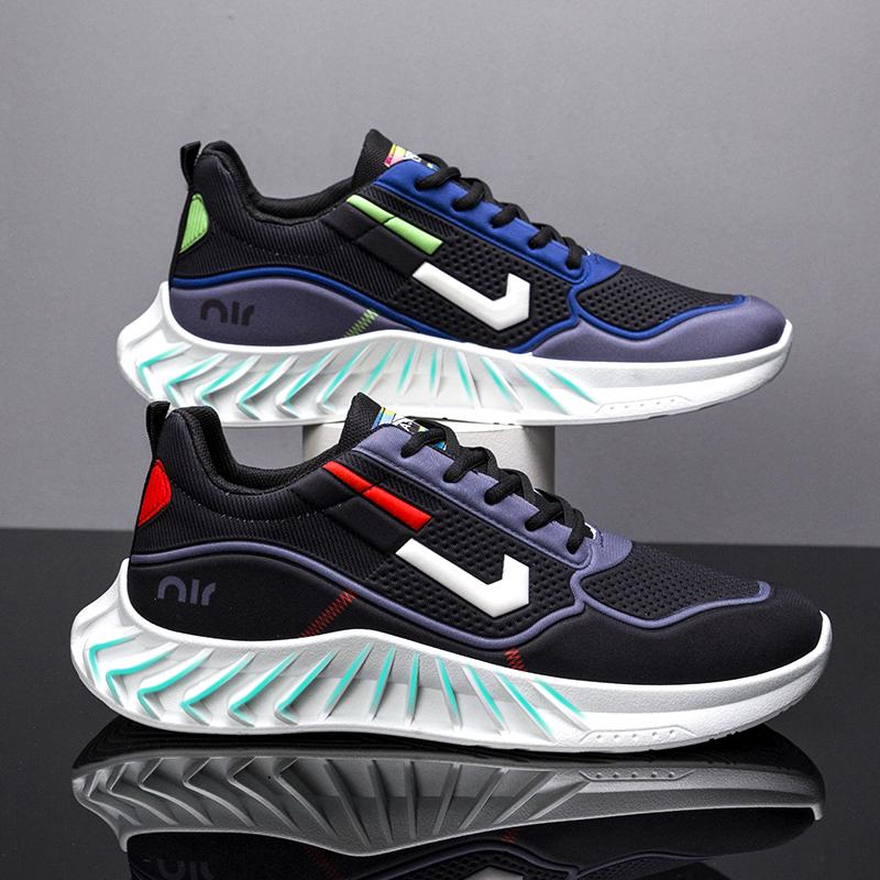 新款夏季轻便男鞋网面透气板鞋男潮鞋韩版百搭时尚休闲运动跑步鞋