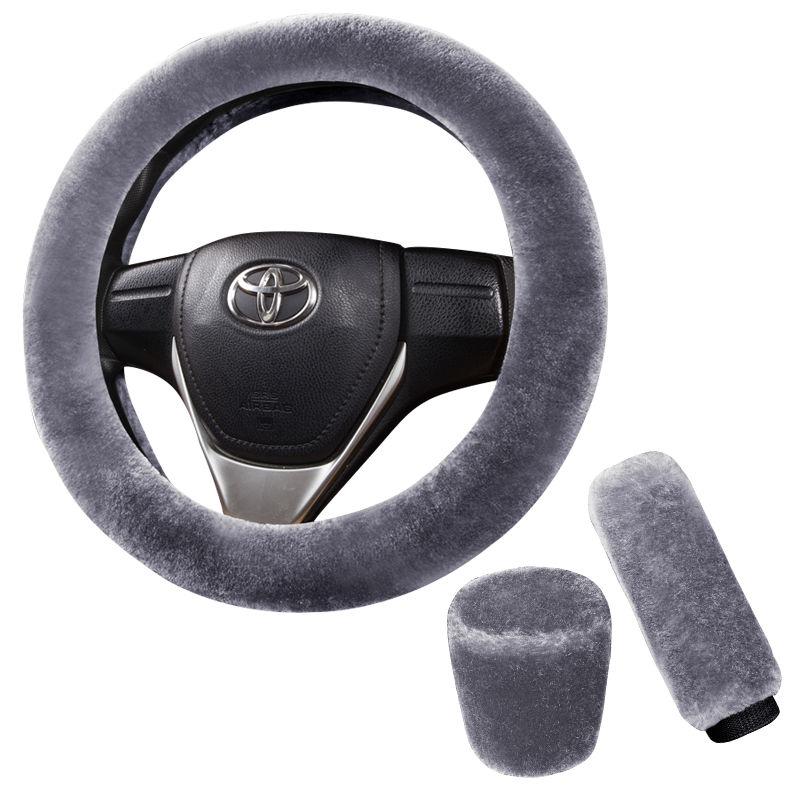 冬季保暖毛绒汽车方向盘套短毛绒车把套手刹套档位套