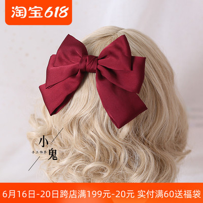 taobao agent Shipping wine red big bow hairpin back head side clip girl Japanese spring clip hairpin net red jk headdress