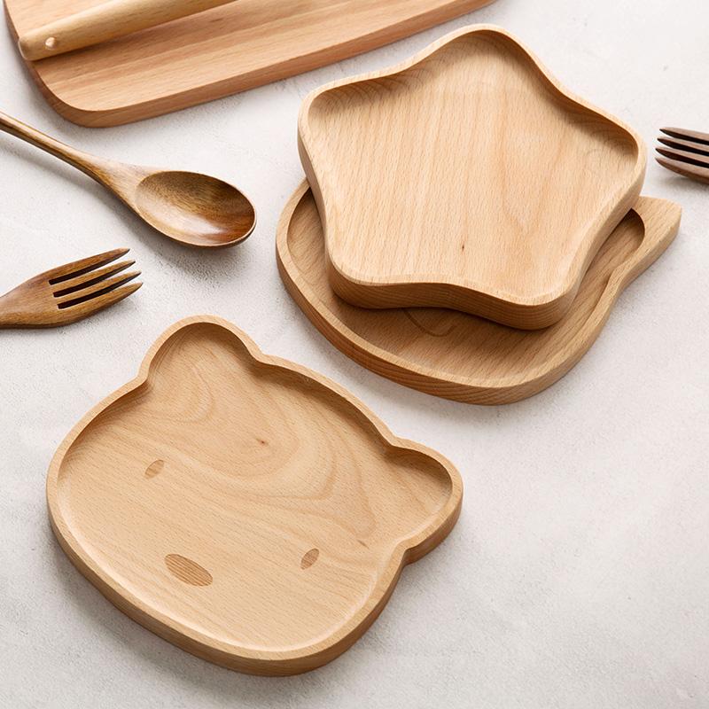 榉木创意卡通托盘木质茶杯早餐盘家用大号可爱实木餐具蛋糕点心盘