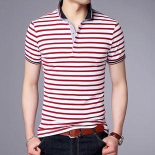 夏季男士短袖t恤 翻领条纹polo衫