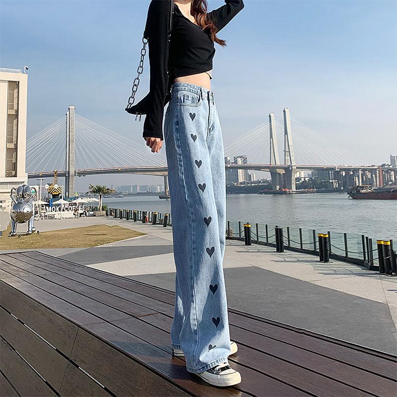 新款复古休闲垂感拖地裤高腰牛仔裤女
