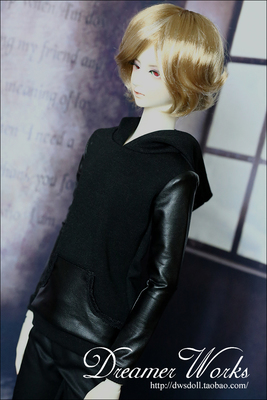 taobao agent 【DWS】SD/BJD doll clothes/baby clothes black leather stitching sweater 1/3, uncle, 3 points