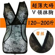 Kích thước lớn cơ thể bụng corset siêu mỏng không có dấu vết mùa hè chất béo mm ren v cổ ống top slimming vớ