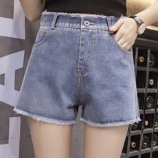 7630韩版女装显瘦大码宽松毛边高腰阔腿裤学生黑白色牛仔短裤女夏