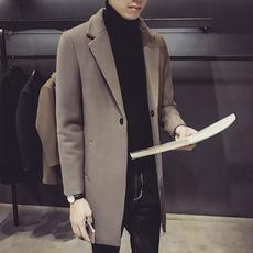 新款男士韩版修身风衣中长款呢料呢大衣西装领夹克外套