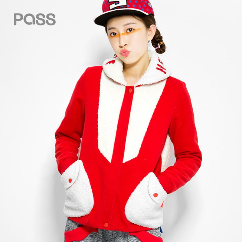 PASS màu đỏ và màu trắng khâu sang trọng áo ngắn dày cộng với nhung mùa đông ve áo thời trang ngắn áo len