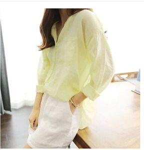 7100# 韩国韩版新款棉麻衬衣女大码森女立领薄款纯色宽松亚麻衬衫