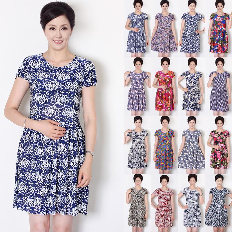 Mùa hè phần mỏng mẹ ăn mặc giữa và cũ tuổi của phụ nữ kích thước lớn là mỏng ngắn tay vòng cổ đầm váy lớn xếp li váy