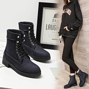 2016秋冬牛仔布短靴英伦风圆头厚底中跟系带欧洲站明星同款女靴子