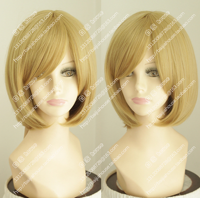 taobao agent European and American bobo pear flower soft girl wig, wheat golden color, fluffy face closing, oblique bangs, internal buckle, foreign trade women