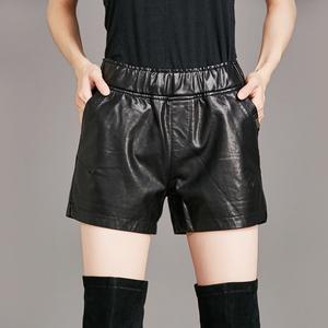 实拍8626#欧美秋冬女裤休闲裤新款短裤PU皮料显瘦百搭洗水皮短裤