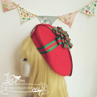 42agent [大叶纸手作] Ting original Lolita Navy Christmas style pure wool gift beret special edition - Taobao