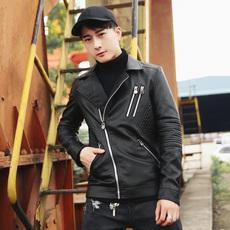 男士皮衣2017新款韩版潮修身帅气机车服男装青年外套皮夹克男6690