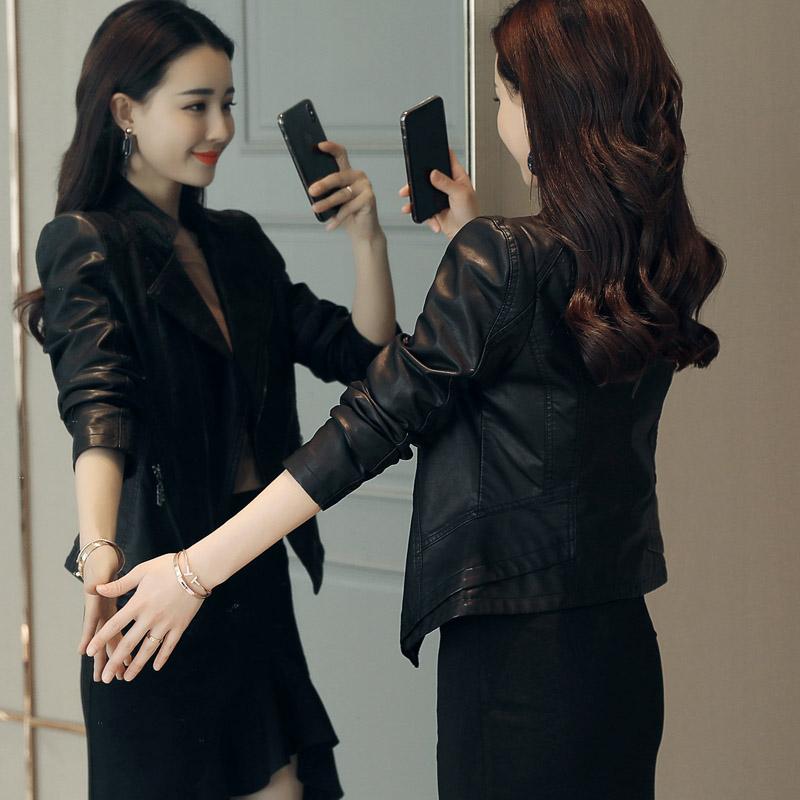 2018 mùa xuân và mùa thu mới hoang dã Hàn Quốc phiên bản của mỏng giảm béo dày đầu máy da nhỏ phụ nữ áo khoác ngắn pu leather jacket