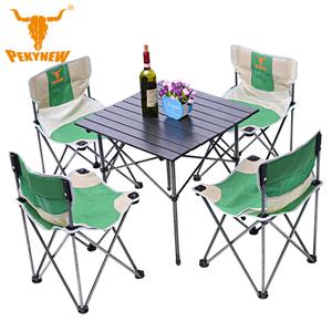 Gia súc bắc cực ngoài trời gấp bàn ghế năm mảnh phù hợp với cắm trại tự lái xe giải trí đồ nội thất nhôm bàn ăn và ghế kết hợp
