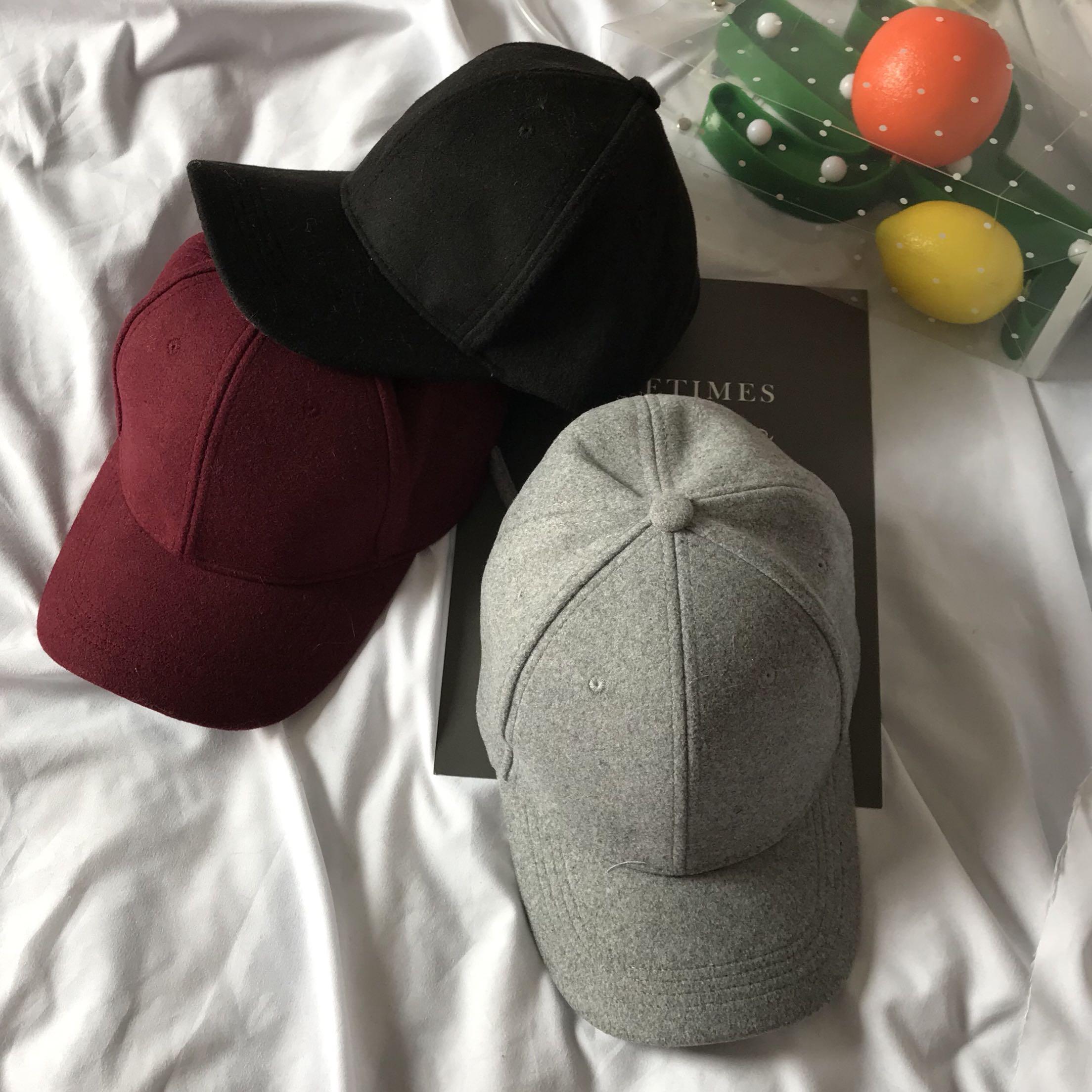 962#韩版秋冬纯色毛呢棒球帽  实拍