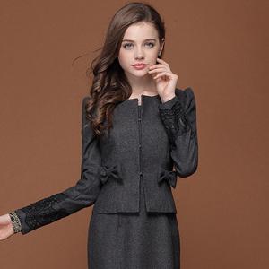 Mực Qinghua mùa thu và mùa đông của phụ nữ ol tính khí chuyên nghiệp nhỏ phù hợp với ngắn coat bow ngắn áo len