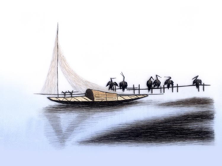 Nổi tiếng cổ thêu nghệ thuật thêu thêu diy kit người mới bắt đầu handmade sơn trang trí 鹈鹕 30 * 40 CM