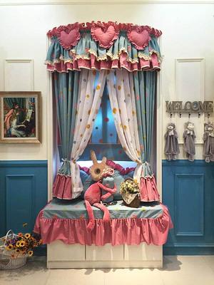 韩式高档棉料绣花粉蓝色雏菊婚房儿童房卧室飘