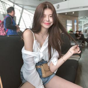 韩国chic鬼马系少女慵懒风蕾丝边小吊带+防晒衬衫两件套