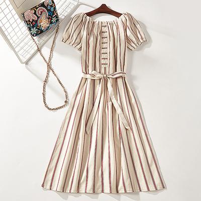2018 mùa hè mới sản phẩm cổ áo sọc màu phù hợp với băng khâu đầm nữ 7812 đồ nữ Sản phẩm HOT