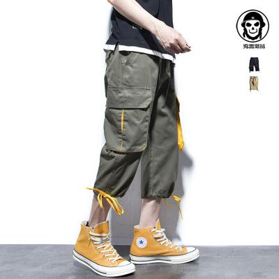 Ghost face tide thương hiệu tương phản màu stereo pocket độc lập thiết kế ban đầu 2018 yếm cắt quần quần mùa hè 3/4 Jeans