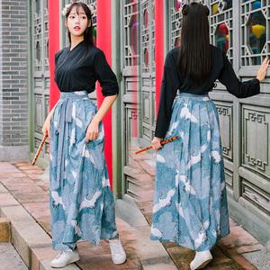 改良漢服中國風女裝兩穿上衣+仙鶴印花長裙套裝漢元素班服