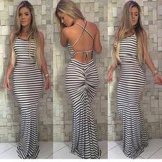 欧美外贸女装2017速卖通ebay夏季黑白条纹修身吊带露背性感连衣裙