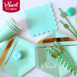Màu xanh lá cây bronzing giấy khăn giấy cup khay giấy bộ sưu tập giấy dùng một lần bộ đồ ăn đảng đảng tráng miệng bảng trang trí