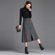 实拍 毛呢半身裙长款  秋冬中长款单排扣高腰显瘦开叉裙子
