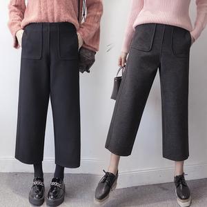 实拍秋冬新款高腰显瘦加厚毛呢直筒裤宽松复古阔腿裤九分裤