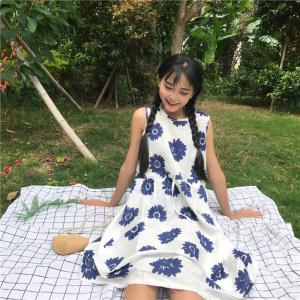 563#实拍 韩版高腰中长款花朵连衣裙显瘦无袖背心裙过膝长裙学生