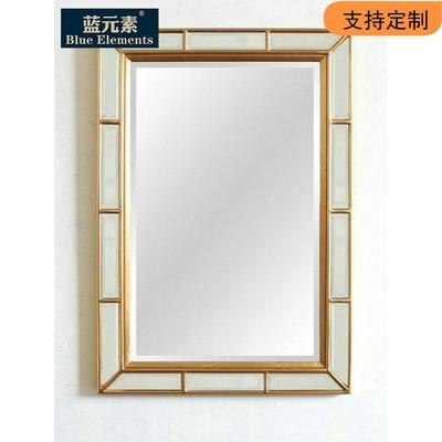 蓝元素1.2米方形镜子美式仿古浴室玄关镜装饰镜
