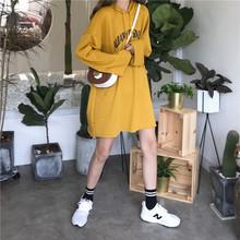 韩版宽松百搭字母印花中长款长袖连帽T恤卫衣外套女