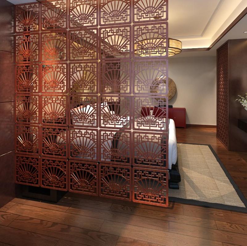 Trung quốc phong cách rắn gỗ màn hình cổ sồi chạm khắc phân vùng rỗng gấp dọc gấp sàn màn hình hai mặt cửa sổ