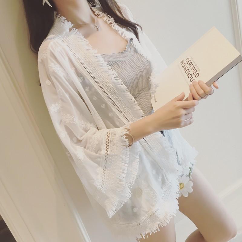 Mùa hè phụ nữ bán buôn Hàn Quốc phiên bản mới lỏng nhỏ khăn choàng bảy- điểm tay áo kem chống nắng quần áo thêu ren áo sơ mi chiffon áo