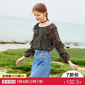[3 miếng 30% off] Lecho mùa hè của phụ nữ tính khí voan ren áo sơ mi bằng gỗ tai dài tay áo từ cổ áo hoa top