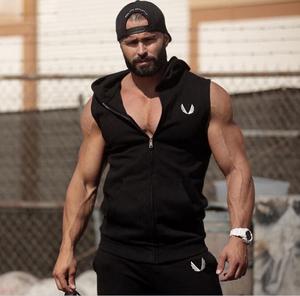 Cơ bắp tập thể dục brothers trùm đầu thể thao không tay vest phần mỏng slim vest nam áo khoác thủy triều chop tay áo mùa thu áo len