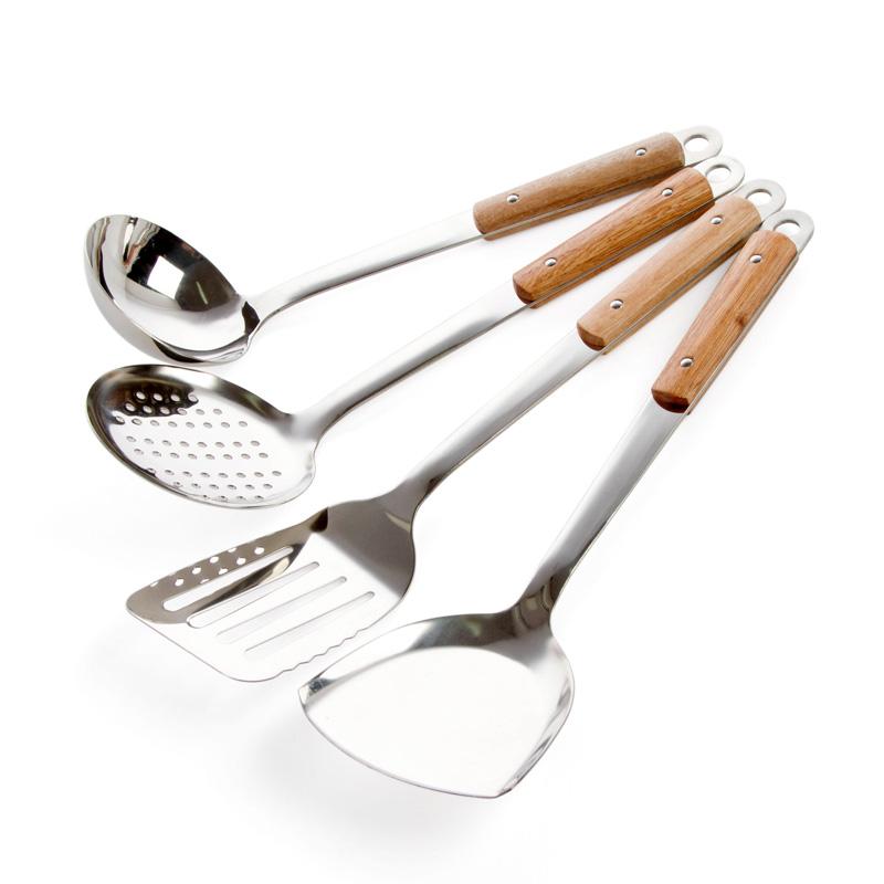Đồ dùng nhà bếp tay cầm bằng gỗ thìa chao thìa hộ gia đình dài xử lý thép không gỉ đồ dùng nhà bếp muỗng nấu ăn xẻng