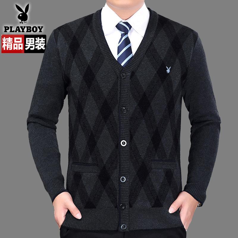 Playboy cashmere áo len nam v- cổ chiếc áo đan len áo len lỏng kích thước lớn dày áo len trung niên cha nạp