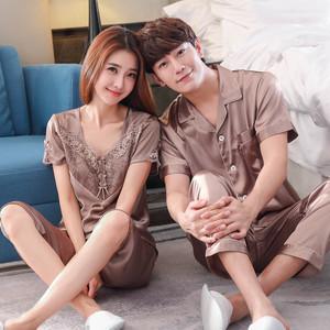 Đắt tiền thêu nam giới và phụ nữ vài bộ đồ ngủ lụa mùa hè ngắn tay lụa ngắn tay phù hợp với hai mảnh nhà dịch vụ