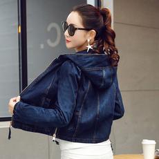 5595*实拍春季新款连帽拼接拉链短款牛仔外套宽松显瘦上衣夹克潮