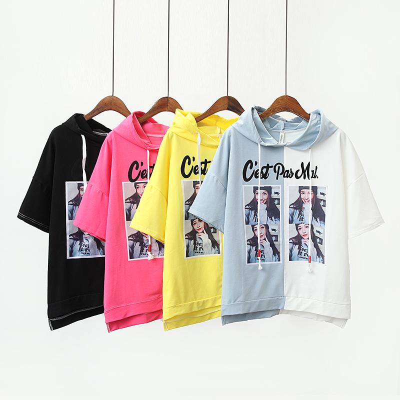 8477 Audeer bông áo len trùm đầu mùa hè mới Hàn Quốc phiên bản của sự tương phản in màu của phụ nữ lỏng lẻo lớn ban hoang dã t-shirt