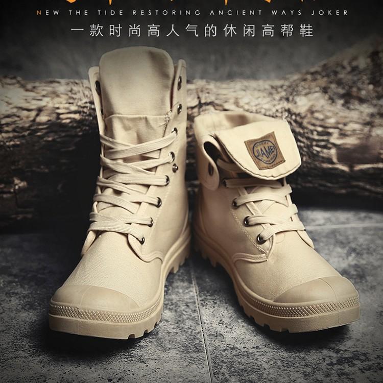 Giày vải thoáng khí cao cấp mùa xuân Giày bốt cao cổ Martin Giày nam sử dụng vải đôi Giày thời trang Anh chống giày công sở ngoài trời - Plimsolls