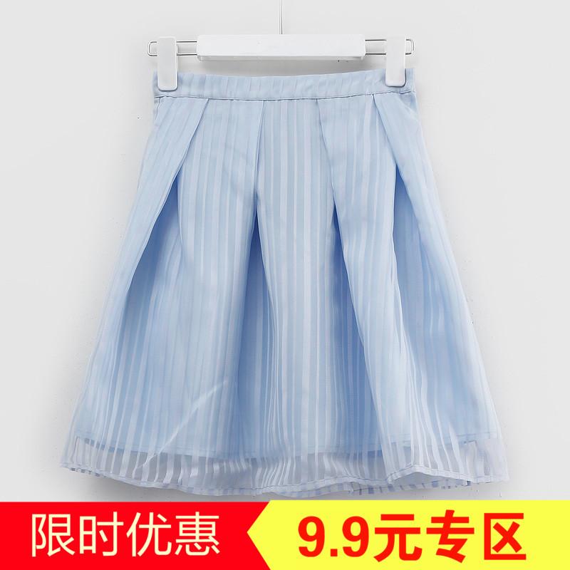 T series thương hiệu giảm giá của phụ nữ 2018 mùa hè Hàn Quốc phiên bản của mỏng Một từ váy hoang dã xếp li váy C8699H